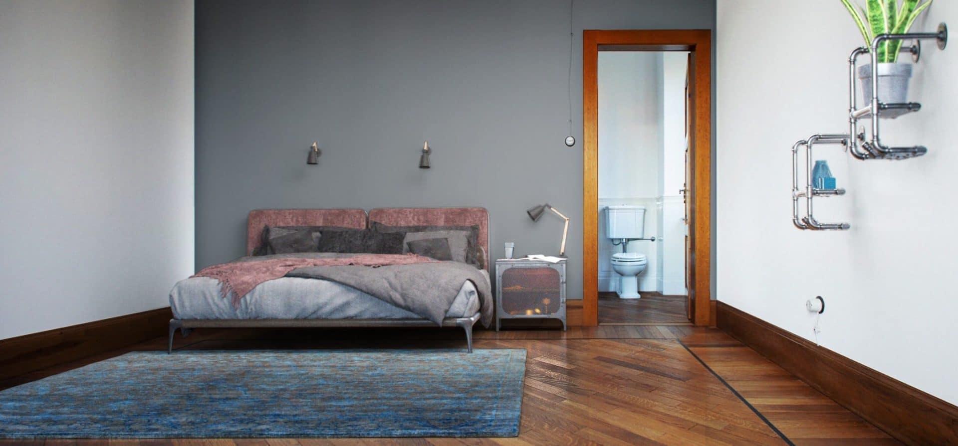 Virtuelles Homestaging von Schlafzimmer im Industrial Style